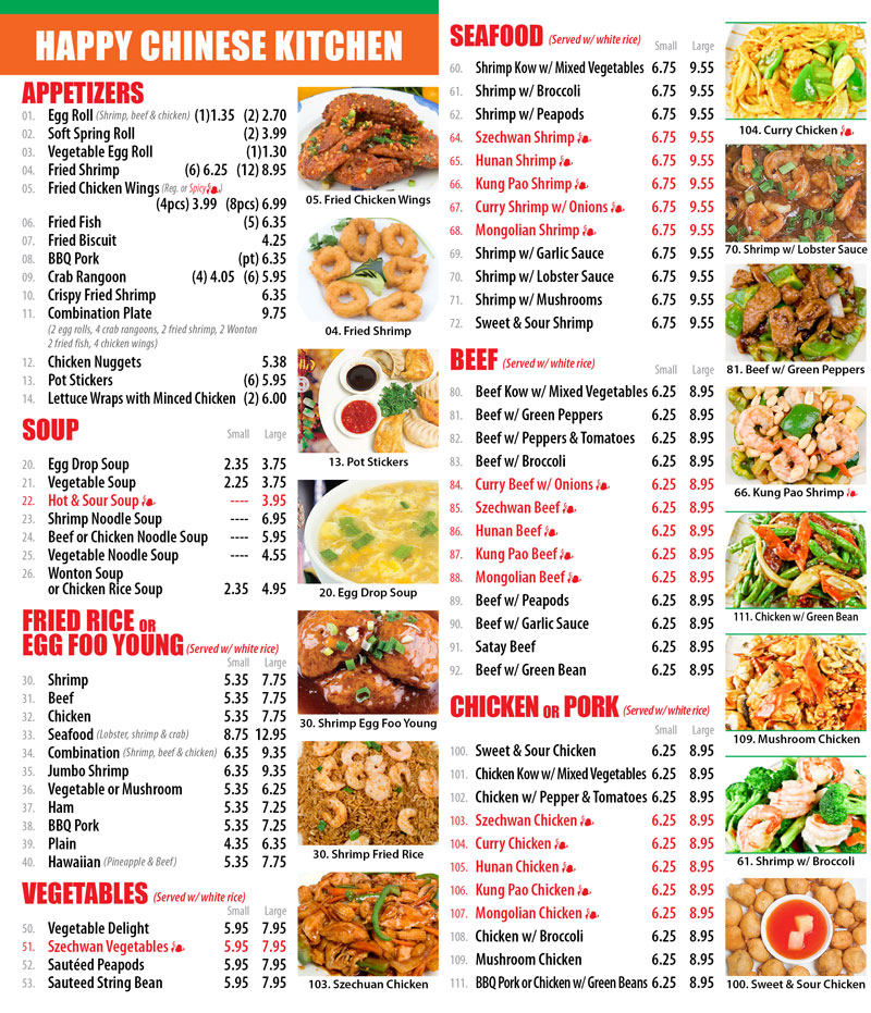 Happy chinese kitchen chinese restaurant for Asian cuisine menu